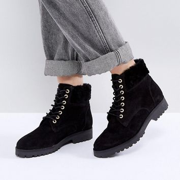 Dune London Perrinn Suede Hiking Boots at asos.com
