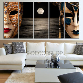 5 Panel Large Size Art Canvas Print Venice Mask with Moon Light  + Stretched on Deep 3cm Frame