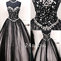 Sweetheart Neck Tulle Lace Ball Gown Long Black Prom Dress, Evening Dress
