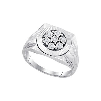 Sterling Silver Mens Round Diamond Cluster Ring 1/10 Cttw 86617