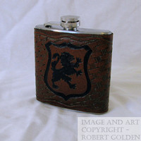 Griffin Shield / Coat of Arms Tooled Leather Flask by goldenjester
