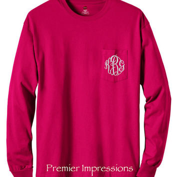 Long Sleeve T-Shirt, Monogrammed Long Sleeve Pocket T-SHIRT with Pocket. Deep Red shown - 13 COLORS AVAILABLE to choose from.