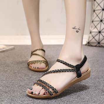 Open Toe Waves Flat Ankle Strap Sandals