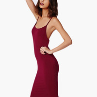 Sleeveless Backless Bodycon Midi Dress