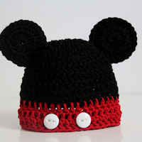 Mickey Mouse Hat - Mickey Mouse Crochet Hat - Baby Boy Crochet Hat - Newborn Photo Prop - Newborn to 2T - Mickey Mouse Hat - Toddler Hat