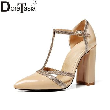 DoraTasia plus Size 34-47 Women's T-strap Chunky High Heels Shoes Woman Buckle Up Summer Party Wedding Sandals women shoes
