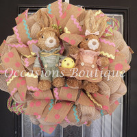 Burlap Easter Wreath, Easter Decoration, Spring Wreath, Front door wreaths, Wreath for door, Spring Decor, Ready to Ship