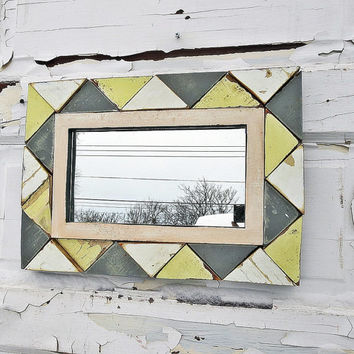 Gray and Yellow Mirror, Reclaimed Wood Mirror, Geometric Framed Mirror, Triangle Mirror, Rustic Mirror, Reclaimed Wall Art, Accent Mirror