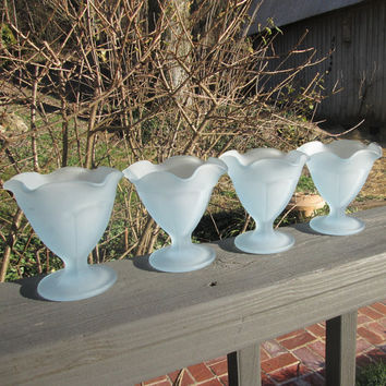 Four Vintage Aqua Frosted Dessert Dishes - Aqua Footed Ice Cream Dishes