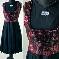 Vintage Garnet Red and Black Silk and Linen Embroidered German Dirndl Dress  size 34 EU Small 1970's