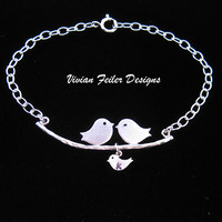 Love Birds Bracelet Family Jewelry Charm One Child Expecting Mom - Vivian Feiler Designs | Wedding