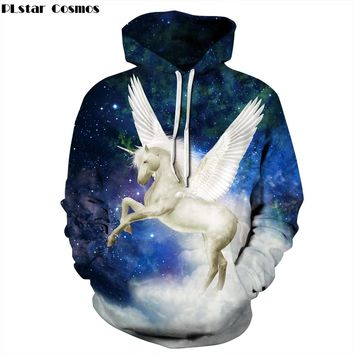 PLstar Cosmos  2018 new Fashion galaxy Hoodies Womens Mens Hooded Sweatshrit Unicorn horse Print 3d Casual Tracksuit Pullovers