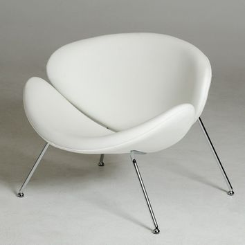 Modrest Anais Contemporary White Leatherette Accent Chair