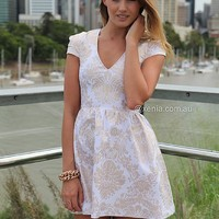 GOLD FOIL DRESS , DRESSES, TOPS, BOTTOMS, JACKETS & JUMPERS, ACCESSORIES, SALE, PRE ORDER, NEW ARRIVALS, PLAYSUIT, COLOUR,,White,Gold Australia, Queensland, Brisbane