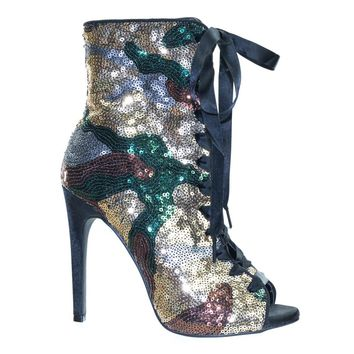 Evelyn46 by Wild Diva Camouflage Sequins Combat High Heel Ankle Bootie w Ribbon Lace Up
