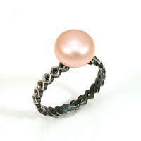 Sterling Silver and Pearl Ring Handmade by SwankMetalsmithing