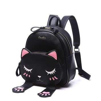 Women Leather Backpack Cat Girl School Backpacks Black Cute High Quality Pu Travel Back Pack Brand Sac A Dos Femme Free shipping