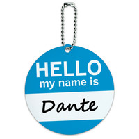 Dante Hello My Name Is Round ID Card Luggage Tag