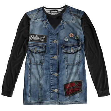 Denim Vest Long Sleeve Tee