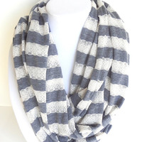 Spring Infinity Scarf Lace Scarf Infinity Scarf Striped Scarf Jersey Scarf Nautical Scarf Blue