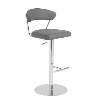 Draco Adjustable Swivel Bar/Counter Stool in Gray with Chrome Base