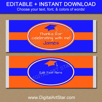 Graduation Candy Wrappers - Printable Candy Labels in Orange and Royal Blue - Graduation Party Favors - EDITABLE Candy Labels - INSTANT