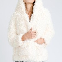 2018 Fall Fur Fuzzy Hooded Jacket Ivory