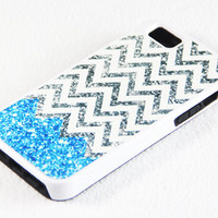 Vibrant Glitter Blue and White Chevron Pattern iPhone 5 + 4S + 4 + 5C + 5S Tough Rubber and Soft Case, iPod 5 + 4 Case