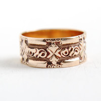 Antique Victorian 9k Rose Gold Chunky Repousse Ring - Size 6 3/4 Vintage Late 1800s Leaf Vine Design Wedding Cigar Band Fine Jewelry