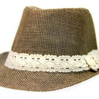 Brown Fedora w/ Lace Band 2-6yrs