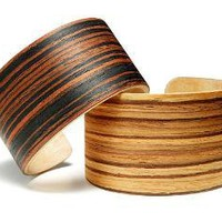 EXOTIC WOOD CUFFS | Simple, Rustic, Stylish Italian Black Striped Grain and African Zebrawood Bracelets, Handmade by Ryan Wither and Paul Lewin | UncommonGoods