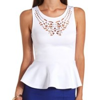 Sleeveless Laser Cut-Out Peplum Top by Charlotte Russe - White