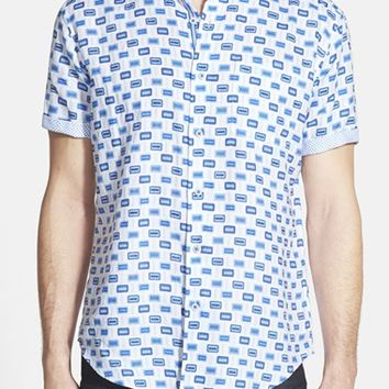 Men's Bugatchi Shaped Fit Geometric Print Sport Shirt