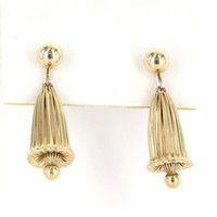 Vintage Fluted Bell Drop Dangle Earrings 14 Karat Yellow Gold Estate Jewelry Heirl