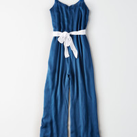 Don't Ask Why Waist Tie Wide Leg Jumpsuit, Navy