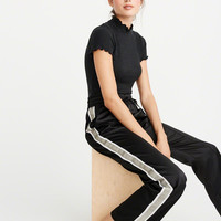 Womens High Rise Wide-Leg Track Pants | Womens Bottoms | Abercrombie.com