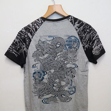 Vintage SUKAJAN Dragon T Shirt Gray Color Size M