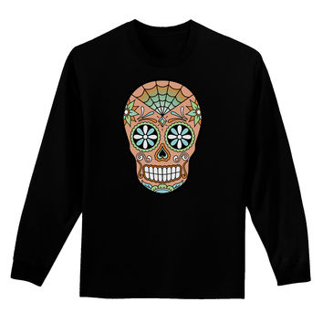 Version 6 Copper Patina Day of the Dead Calavera Adult Long Sleeve Dark T-Shirt