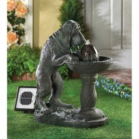 Thirsty Bloodhound Solar Outdoor Water Fountain