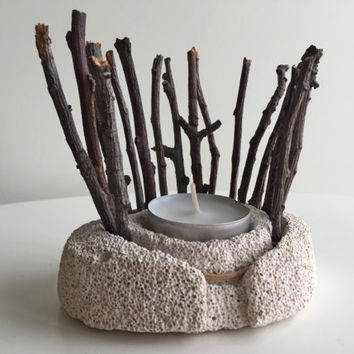 Natural Home Decor /Natural Pumice Stone Candle Holder/  Natural Gifts / Tree Branch Decor