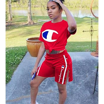 Champion Hot Sale Women Casual Print Short Sleeve Top Shorts Set Two Piece Sportswear Red