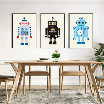 Nordic Canvas Wall Art Cartoon Robot Picture Modern Poster Wall Pictrues For Living Room Kids Bedroom Home Decor No Frame