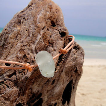 Hawaiian Clear Bonfire Beach Glass on India Leather Cord Completely Adjustable & Stackable Bracelet