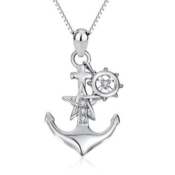 YFN Genuine 925 Sterling Silver Ship Anchor Pendant Star Crystal CZ Pendant Necklace Fashion Jewelry Gift For Women