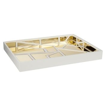 Nate Berkus Gold Mirrored White Decorative Tray