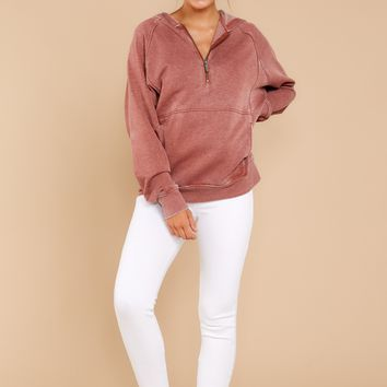 Half Zip Fleece Pullover Hoodie In Clay
