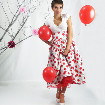 Maxi Skirt - Rockabilly Skirt, 50's skirt, Full Cherry Skirt,  Pin-up Dress, Plus Size Skirt, High Waisted Tea Length Skirt, Plus Size Skirt