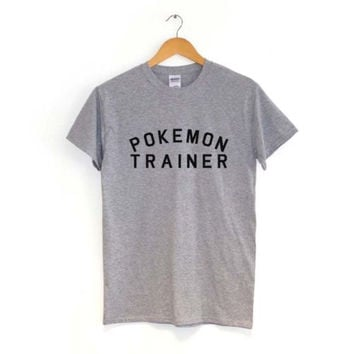 Pokemon Trainer Gray Black White Burgundy tshirt