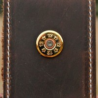 12 Gauge Shotgun Shell on front of a Genuine Leather Wallet