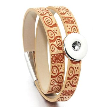 2 Colors 20CM Two Laps Magnet Snap Bracelet Vintage Lettering Leather Bracelet Fit 18mm 12mm Snap Button For Women Jewelry 9361